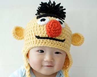 Bert Muppet Hat, Bert, Crochet Baby Hat, Baby Hat, Animal Hat, photo prop, yellow, Inspired by Bert on Sesame Street