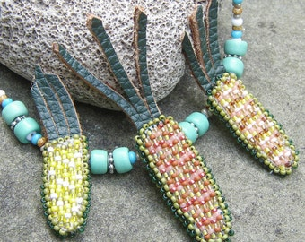 Beadwork Indian Corn Necklace, Green, Turquoise Colors