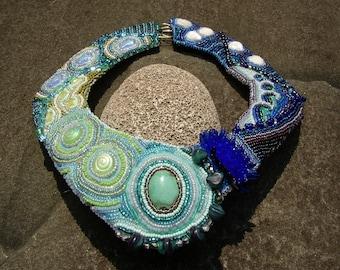 Statement Beadwork Necklace,  Ocean Themes & Fish