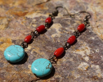 Bohemian Dangle Earrings, Turquoise and Red Coral, Hand Wired