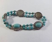 Turquoise and Silver Beaded Stretch Bracelet