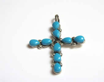 Sterling Silver Turquoise Cross Pendant - Weight 1.6 Grams - Religious - Jesus - Christian - Southwestern # 2311