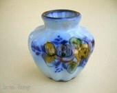 Miniature 1920s Vase, Alcobaça Portugal Majolica, Hand Painted Antique Vase