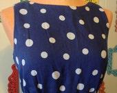 Polka dotted Blue vintage Maxi dress small Empire waist Nautical