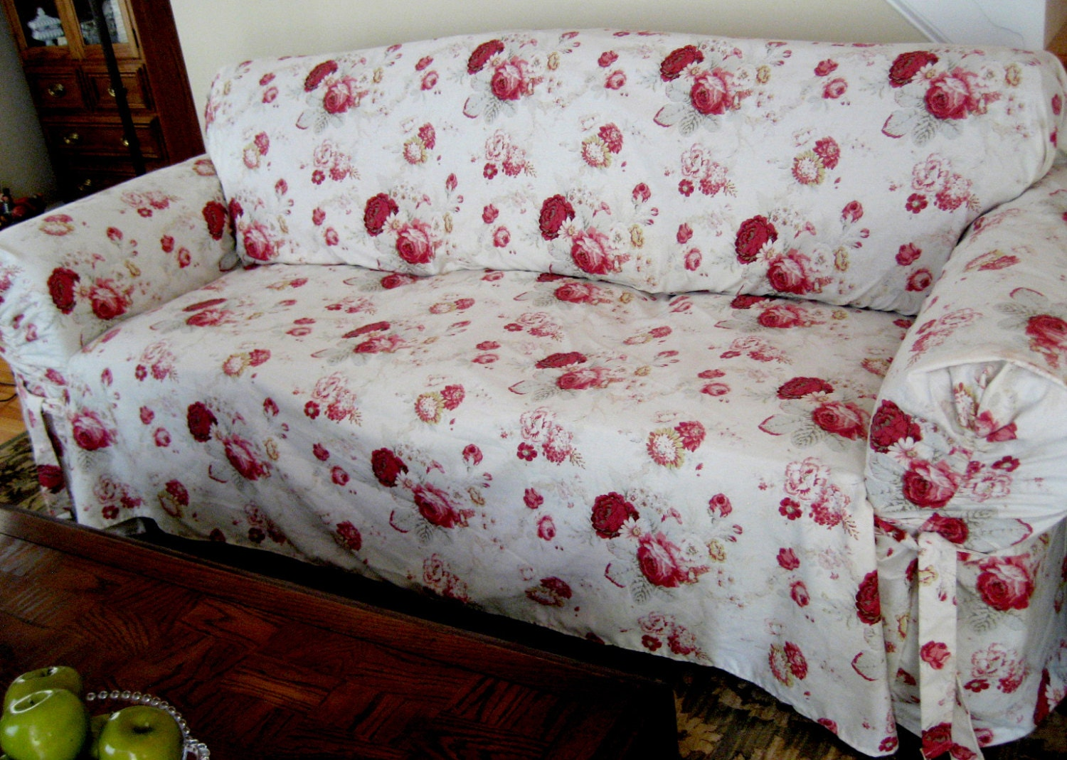 Slipcover Waverly Sofa Norfolk Rose Pattern Sure Fit Retro