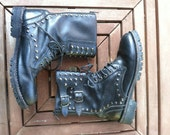 RAD STUD Vintage Studded Lace up Leather Combat Boots Womens 8.5