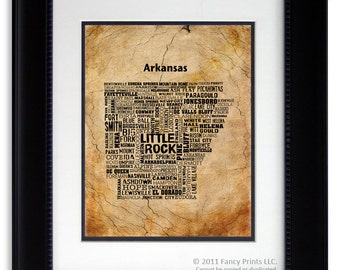 ARKANSAS State Map cities Christmas gift for him Housewarming Gift Unique Vintage Style Typography Poster Christmas gift for him