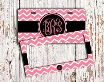 Monogrammed license plate or frame - Hot pink chevron black monogram - Personalized chevron car tag Bicycle license plate bike plate  (9916)