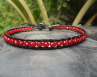 Sunday Red Crystal Leather Anklet