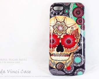 Sugar Skull iPhone 5 5s SE Case - Sugar Skull Paisley Garden - Artistic iPhone SE TOUGH Case With Day of the Dead Artwork
