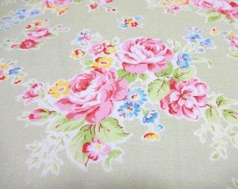 Japanese Fabric LECIEN Flower Princess Rose Light Green FQ