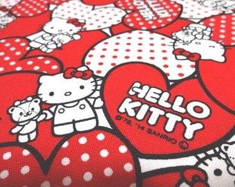 Japanese Fabric Sanrio Hello Kitty Heart Red FQ