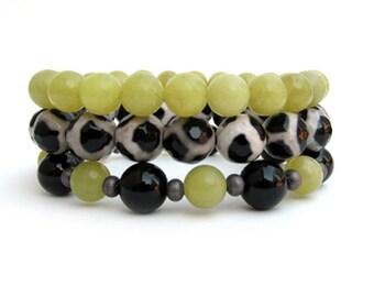 Jade and Agate Beaded Stretch Bracelets - Women's Bracelets - Bracelet Stack - Women's Jewelry - WS1583