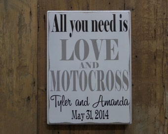 All you need is LOVE and MOTOCROSS, Gift for him, Anniversary Gift for Him, Gift for Couple, Wedding Gift for Him, Gift for Husband, Sports