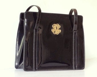 Vintage French Black Patent Leather Handbag - 1940s-50s - Expands Wide - Interior Compartments - Good Sturdy Condition - STYLISH
