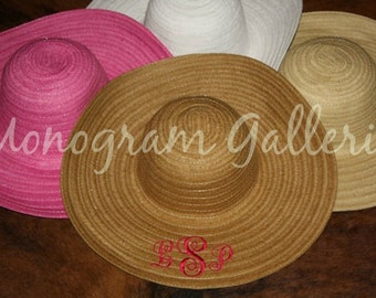SALE!!!  PINK Monogrammed Women's Wide Brim Straw Hat   Font 1  SALE!!!