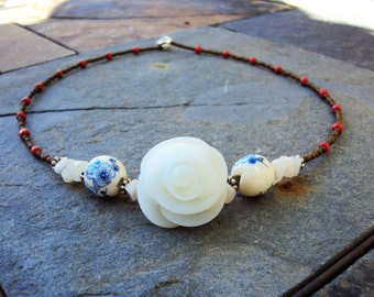 Ghostly Quartz Blue China Spanish Rose Country Neutral Orange Eclectic Earth Necklace
