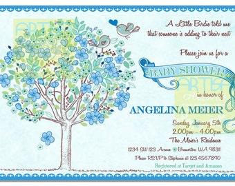 Tree Birds Baby Shower Invitation - Birds and Tree Blue Baby Shower Invitation, Blue Vintage Rustic Tree Baby Shower - Blue Tree Baby Shower