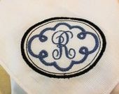 Monogram Handkerchief, for men or women, nice accessory to your suit or purse. Free Shipping.