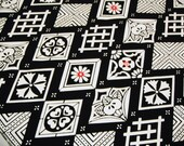 Black White Geometric Vintage Japanese wool kimono fabric 60 inches long x 14.5 inches wide