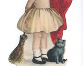 Vintage Halloween Greeting Witch Girl with Black Cat and Broom 1930's Halloween Decor Card Standup Collectible