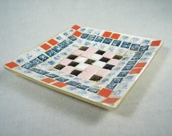 "Mosaic Tile Dish Plate Change Coin Decorative 5"" Square"