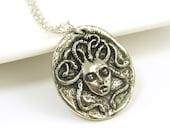 Medusa Necklace, Silver Medusa Pendant, Snake Serpent Charm with Chain Greek Mythology Jewelry |GS1-15