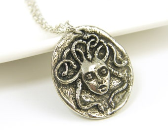 Medusa Necklace, Silver Medusa Pendant, Snake Serpent Charm with Chain Greek Mythology Jewelry |GS1-15