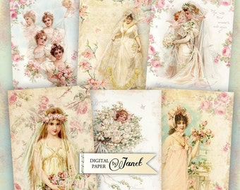 Romantic Wedding - digital collage sheet - set of 8 - Printable Download