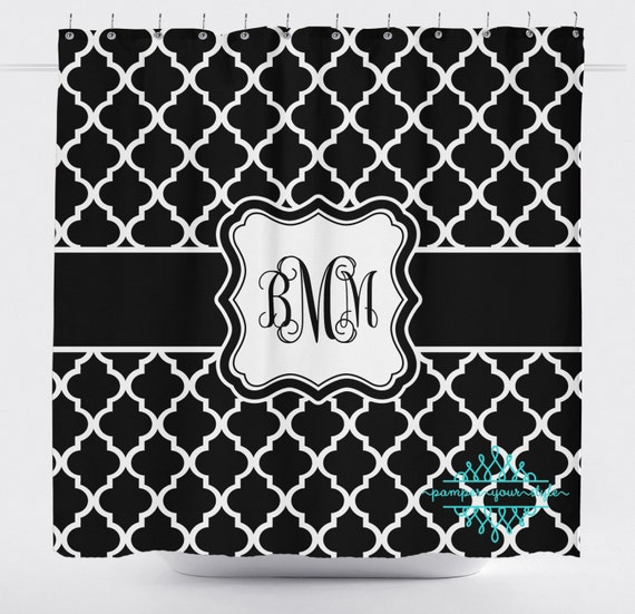 Custom Designed Moroccan White And Black Shower Curtain Boys