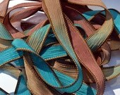 "Seascapes 42"" hand  dyed silk ribbon//Silk wrist wrap bracelet ribbons// Silk wrap ribbons// Silk ribbon //By Color Kissed Silk LLC."