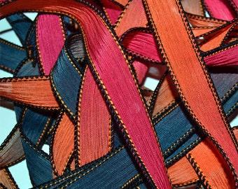 Inferno  42 inch hand dyed silk ribbon// Silk Wrist wap Bracelet Ribbons//Silk Ribbon//Silk Yoga Wrap Bracelet Ribbons//By Color Kissed Silk