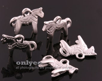 4pcs-13mmX11.5mm Matte Silver plated over Brass Cute Pony Pendants,Charms (K1172S)