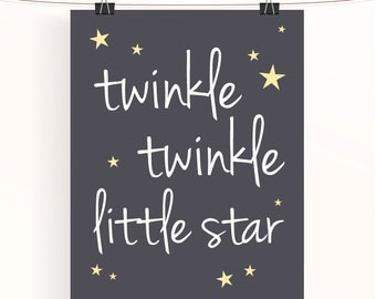 Twinkle twinkle little star - monochrome nursery print - typography poster - grey nursery - star nursery art - charcoal gray kids wall art