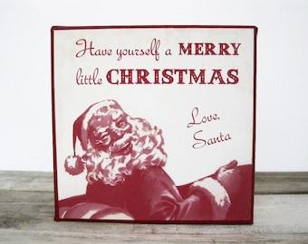 Merry Christmas Vintage Santa on canvas 6x6