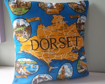 Dorset Souvenir Cushion / Pillow cover Upcycled Teatowel