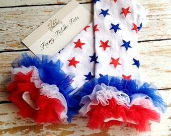 4th of July Leg Warmers, Baby Leg Warmers, Red White and Blue Leg warmers with ruffles, Stars Leg Warmers
