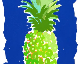 Green Pineapple Print 11x14 by Kelly Tracht, Pineapple Art, Pineapple Painting, Preppy Art Coastal Beach House Southern Art #3S