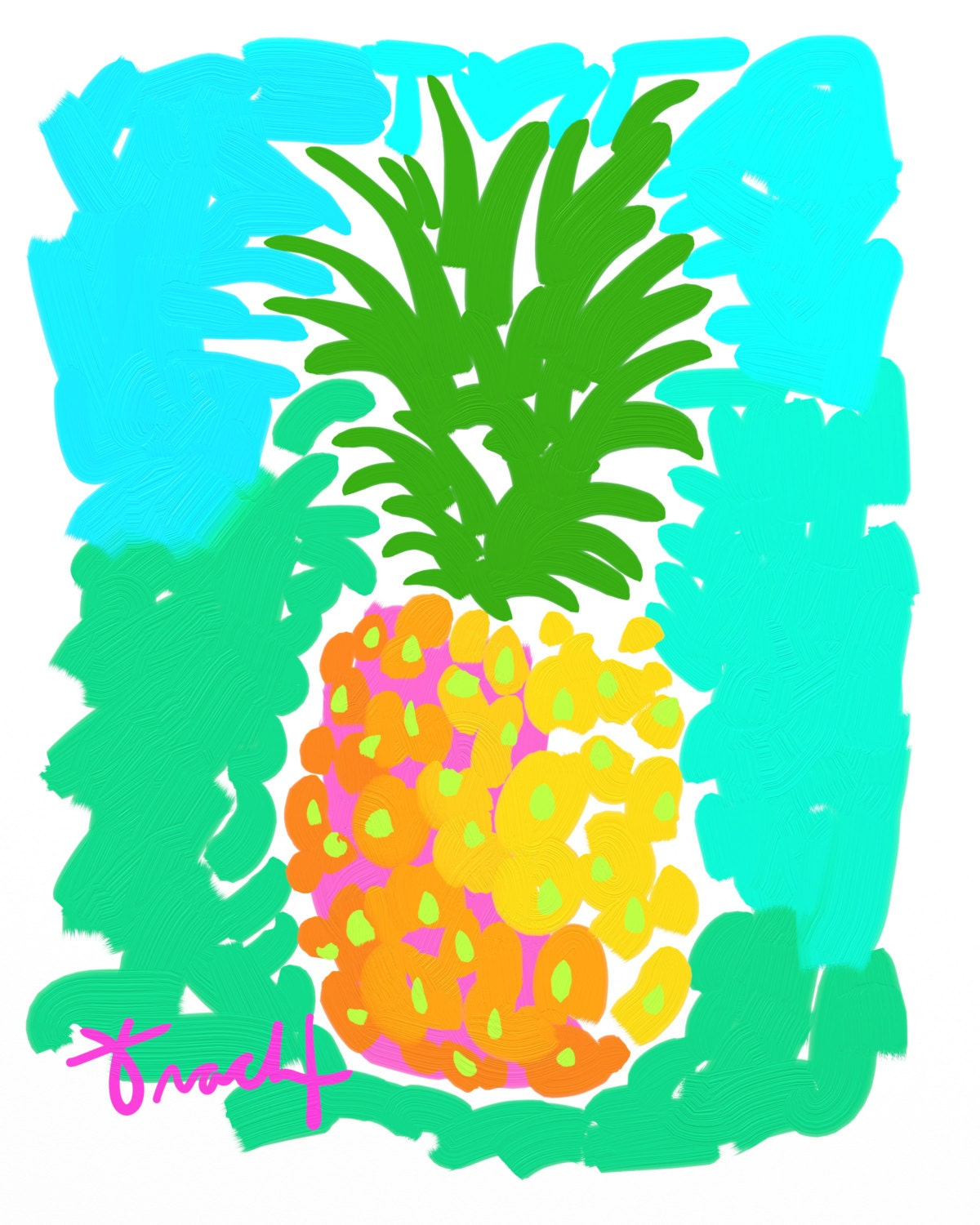 Pineapple Print 11x14 Kelly Tracht Key West Style Art Painting