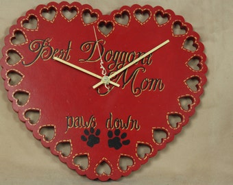 Red Heart Wall Clock, Scrollsaw, Best Doggone Mom Paws Down, Wall Art, Beth Baker Artist