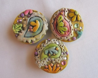 Jeweled Rustic Paisley magnets, Paisley magnets, set of three
