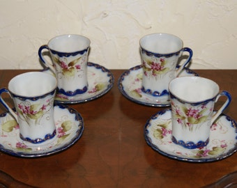 Lot Of 4 Vintage Porcelain Floral Motif Demitasse Cups And Saucers Hand Painted Japan 1930s