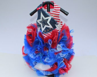 The Freedom Dress, 4th of July Party Gown, USA Star Dress, Red, White, and Blue Couture