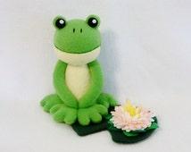 Plush frog toy lilypad flower