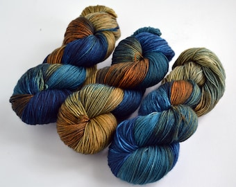Hand dyed yarn pick your base - Cobalt & Rust- sw merino cashmere nylon fingering dk worsted