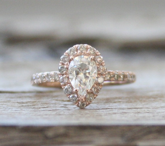 pear moissanite diamond engagement ring in 14k rose by. Black Bedroom Furniture Sets. Home Design Ideas