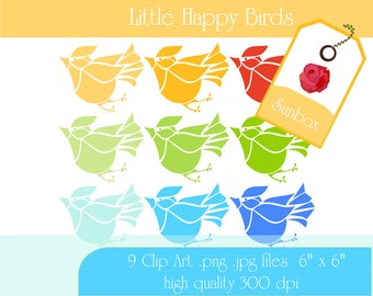 Little Birds ClipArt - Spring Time Yellow Orange Red Green Blue 9 ClipArt Images for cards, scrapbooking  - instant download - CU OK