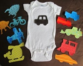 Iron on applique set - Transportation Themed for Baby Shower Decorating Station
