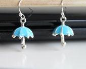 NEW Sky blue tiny umbrellas earrings, spring rain small earrings, 925 sterling silver earrings, simple everyday jewelry