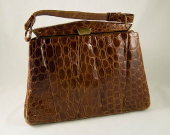 Vintage Retro Alligator Handbag from the 1940s